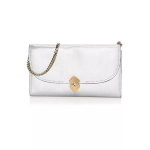 Kate Spade Lula Metallic Silver Leather Clutch